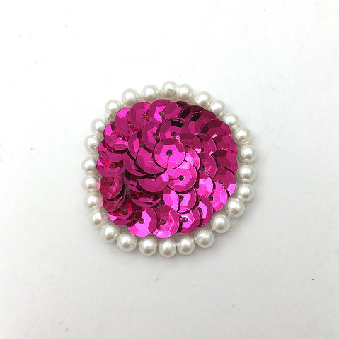Circle Dot Choice of Color Sequins with White Pearls  1.5""