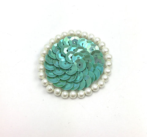 Circle Dot with Choice of Color Turquoises Sequin and Pearls  1.5""