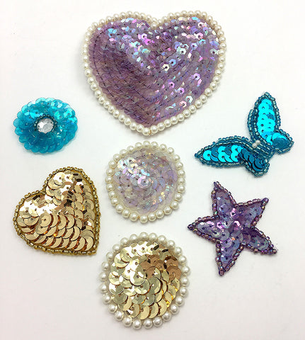 Heart, Dot, Butterfly,  Star Assortment, Purples, Turquoise, Gold, White Sequin Beaded