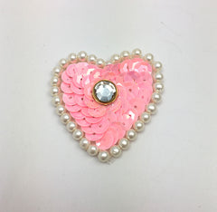 Heart with Choice of Color Sequins, White Pearls and Center Gem 1.5""