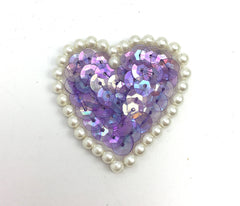 Heart Choice of Color Sequins and Pearl White Beads  1.5""