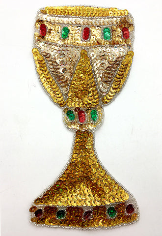 "Medieval Goblet Cup with Multi-Color Sequins and Silver Beads  8.25"" x 3.75"""