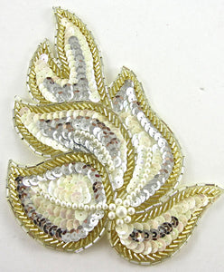 "Leafy Motif with Gold/Silver/White Sequins and Beads 6"" x 4"""