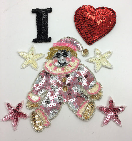"I Heart, Clown and Star Assortment, Sequin Beaded  1.75"" - 5"""