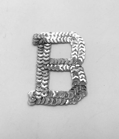 Letter B Silver with No Beaded Edges 2""