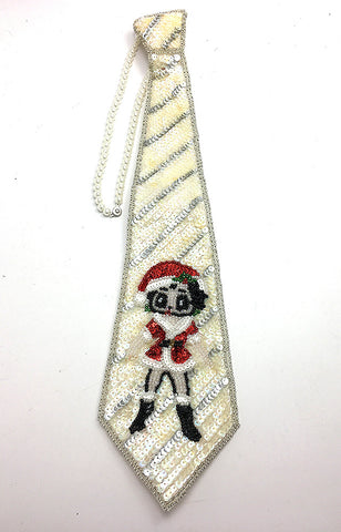 Tie Choker Necklace with Cartoon Girl in Santa Costume, Iridescent and Silver Sequins, Beads and Pearl Choker with Pinch Clasp