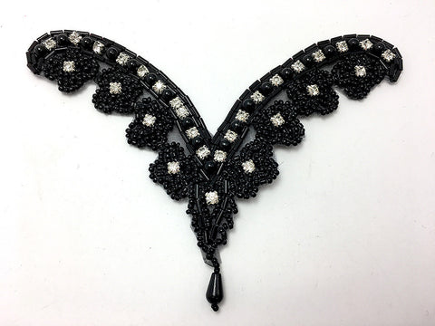 "Designer Motif with Black Beads and Rhinestones 6"" x 5"""