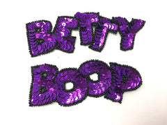 "Vintage Cartoon Diva Name in  Colors Red, Fuchsia or Purple Sequins Black Beads 5"" x 1.5"" and 4.5"" x 1.5"""