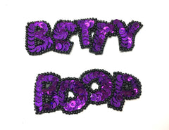 "Vintage Cartoon Diva Name in Colors Red, Fuchsia or Purple Sequins Black Beads 3.5"" x 1"" and 3"" x 1"""