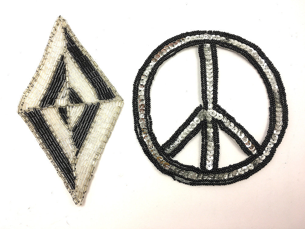 "Damaged Assortment, Designer Motif and Peace Sign, 6"" x 3.5"" and 5"""