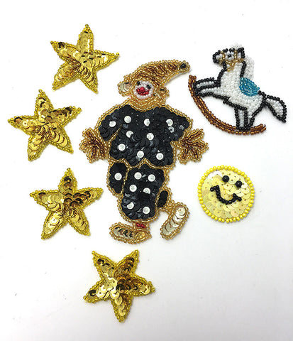 "Kid's Assortment, Blacks Yellows Golds, Sequin Beaded  1.25"" - 4.5"""