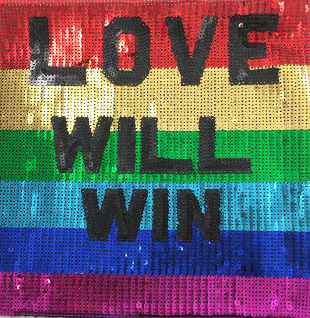 "LOVE WILL WIN Word Multi-colored applique with sequins 11"" x 11"""