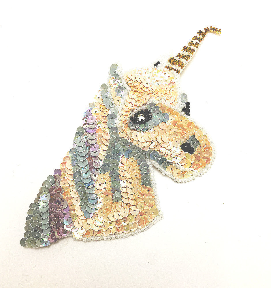 "Unicorn with Pastel Color Sequins and Beads, Clear Stone Eye  6.5"" x 3"" or 7.5"" x 4"""