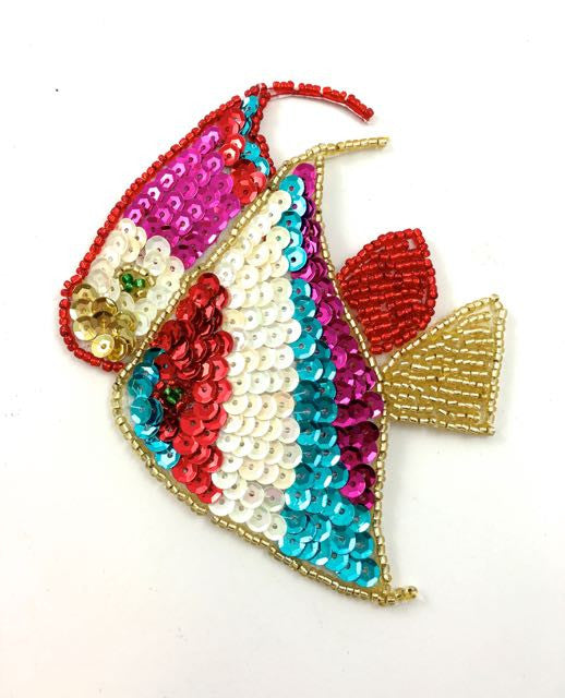 "Fish Multi-Colored Sequins and Beads 4.5"" x 3.5"""