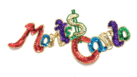 "MONTE CARLO Sequin Word Spelled out 6"" x 11"""