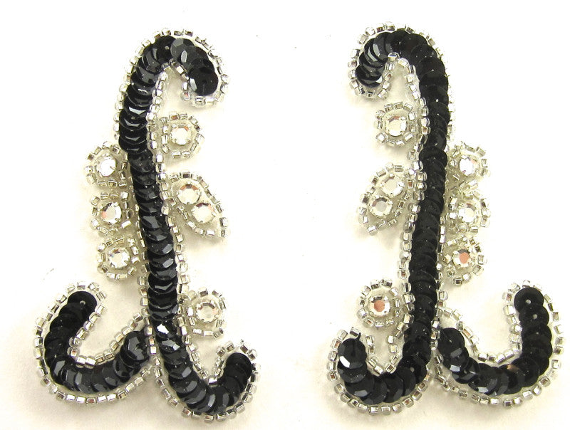 "Designer Motif Pair with Black Sequins and Silver Beads and Rhinestones 3.5"" x 2"""