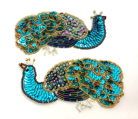 "Peacock Mirror Pair Sequin Beaded, 5"" x 2.5"" (each)"