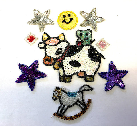 "Assortment, Cow, Rocking Horse, Smile, Stars and Squares, 0.5"" - 4"""