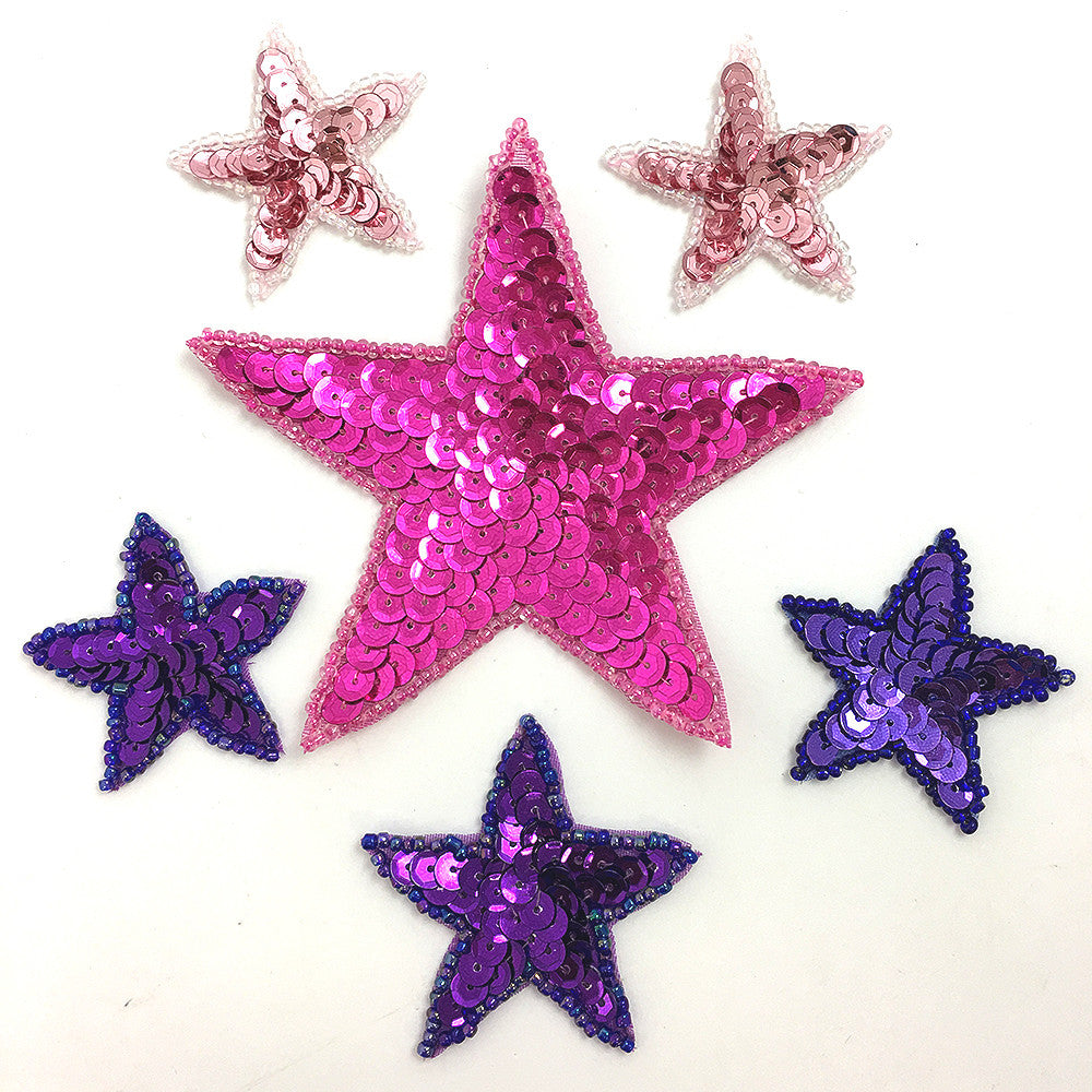 "Star Assortment, Pink and Purple Sequin Beaded, 1.75"" - 4"""