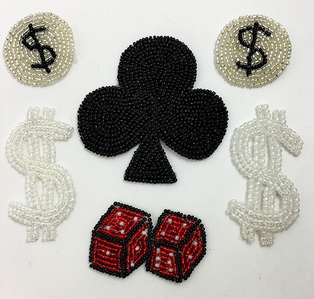 "Gambling Motif Assortment, Black, Iridescent, Silver and Red Beaded, 1.5"" - 3"""