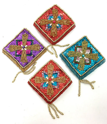 "Designer Motif Assortment Purple, Turquoise Red Sequins with Gold Beads, 5"" x 3.5"" ea."
