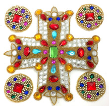 "Load image into Gallery viewer, Designer Motif Gothic Cross and Circles Assortment, Gold Beads, Multi-Color Stones, 2.5"" - 9.5"""