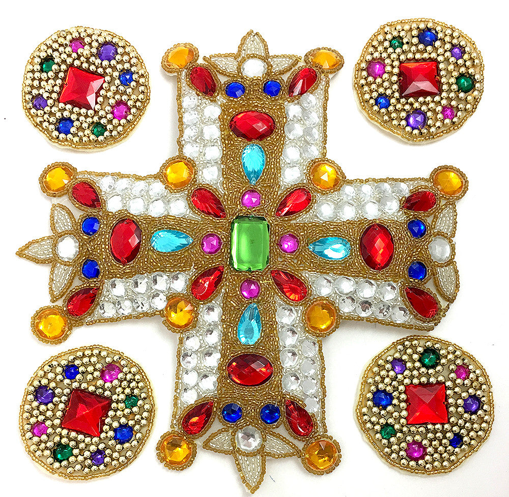 Designer Motif Gothic Cross and Circles Assortment, Gold Beads, Multi-Color Stones, 2.5