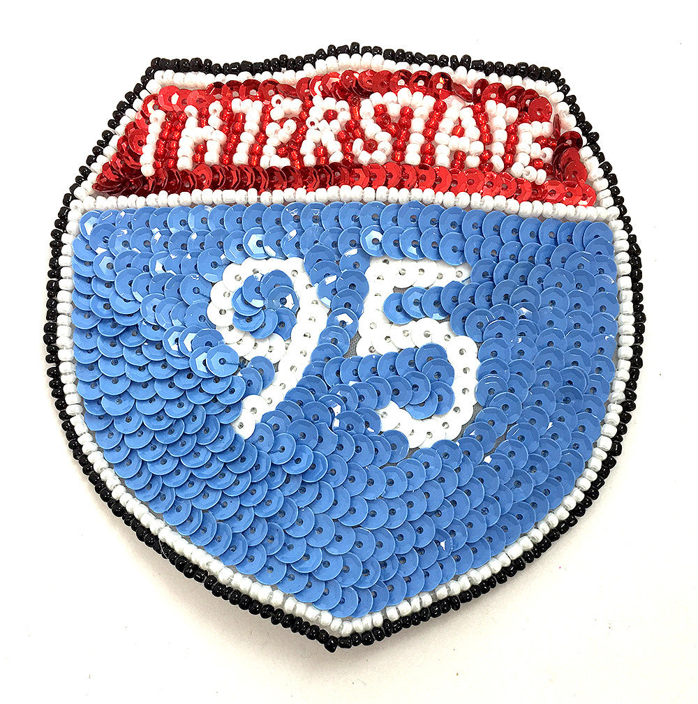 Interstate 95, Light Blue, Red, White and Black Sequin Beaded 4""