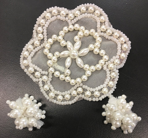 "Designer Motif Assortment, Pearl Flower with 2 Pearl Clusters  1"" - 3"""