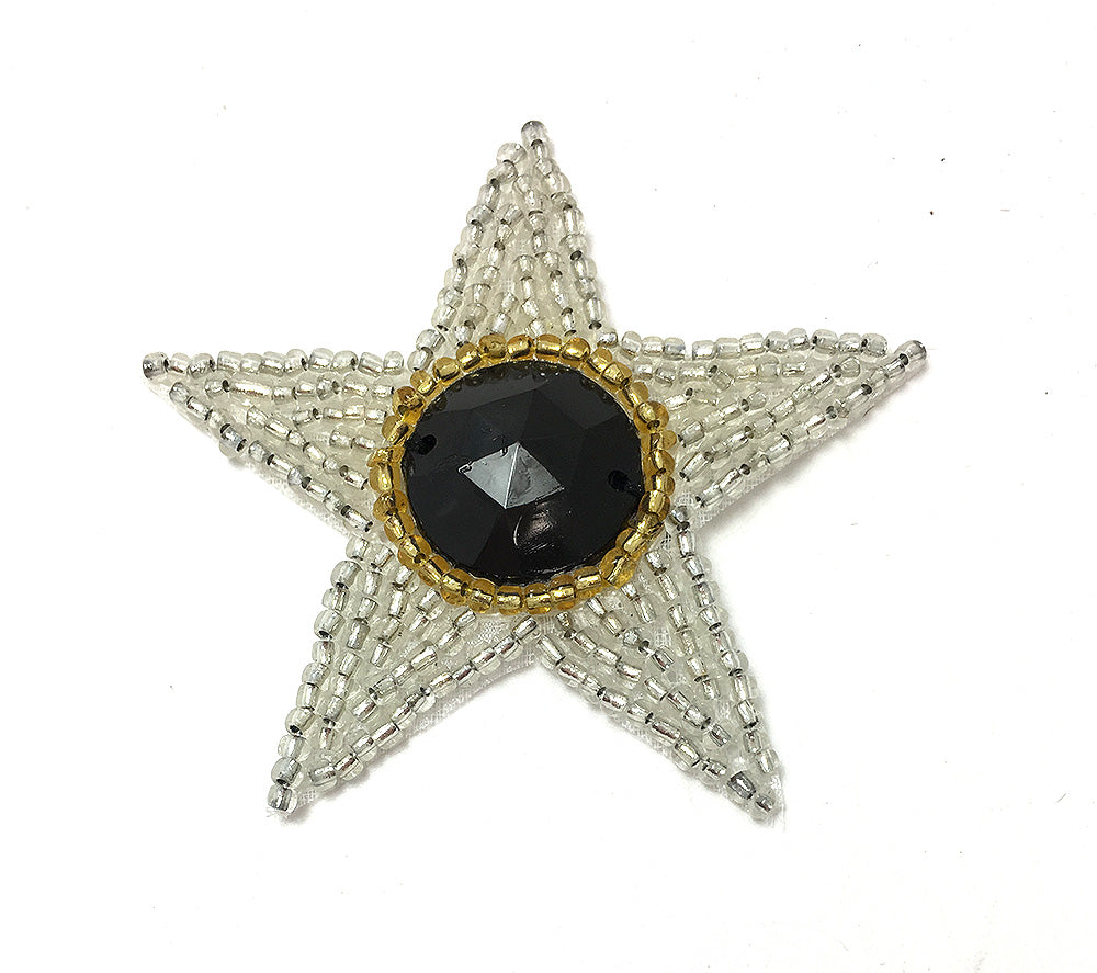 Star with Multi-Color Silver and Gold Beads, Choice of Color Center Stone  2.5""