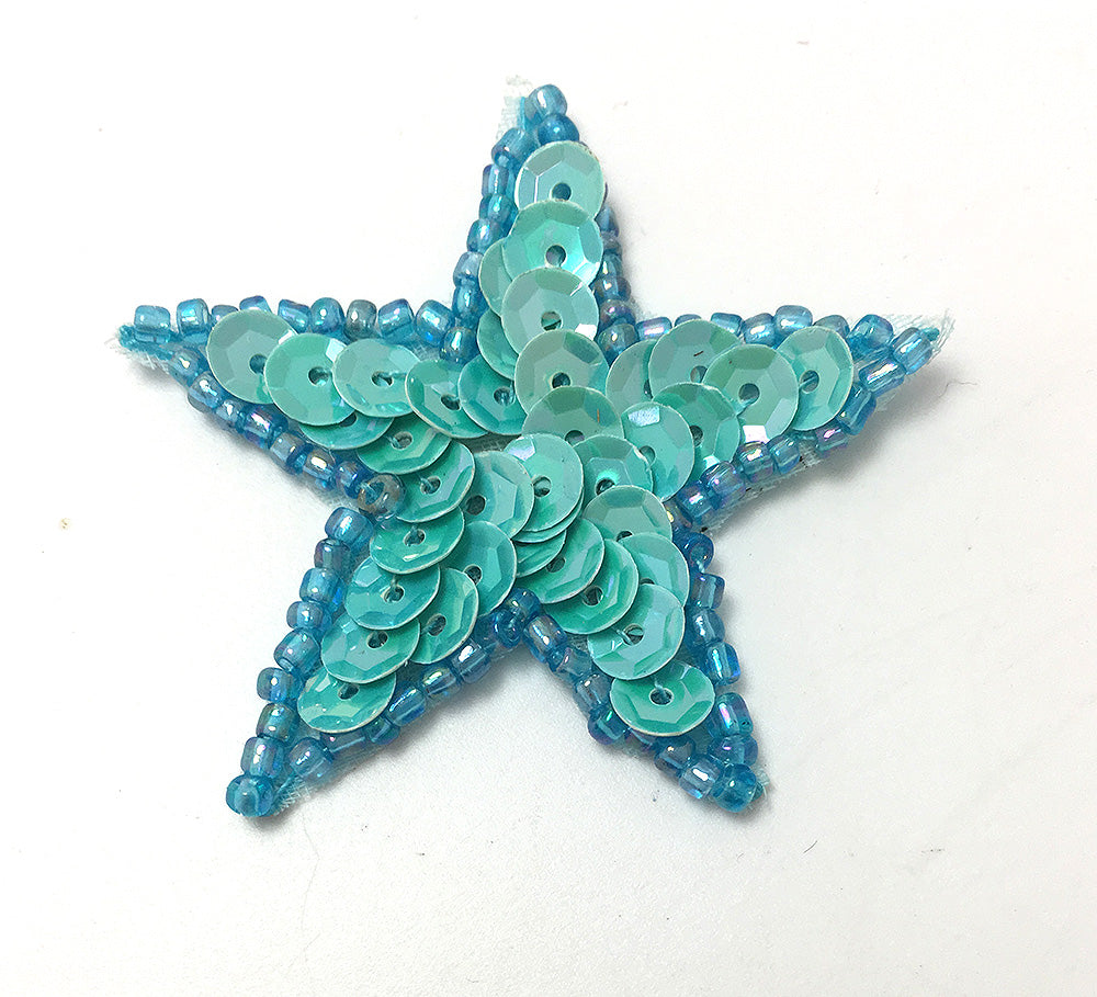 Star with Opaque Iridescent Turquoise Sequins and Beads  1.5""