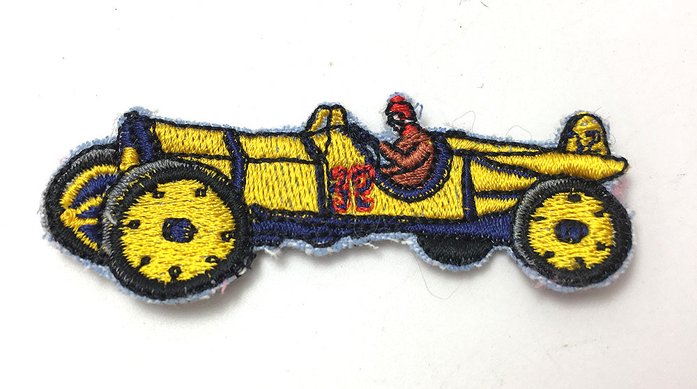 "Vintage Race Car and Driver, Embroidered Patch  3"" x 1"""