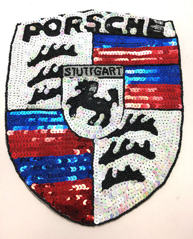 "Porsche Emblem Auto Patch, Red, White, Blue Sequins and Black Beads, 11"" x 9"""