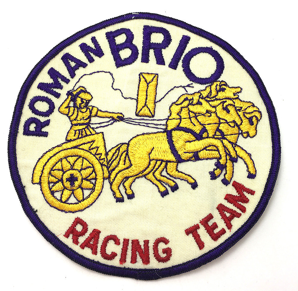Classic Roman Chariot Racing Motif Patch, Embroidered  6""
