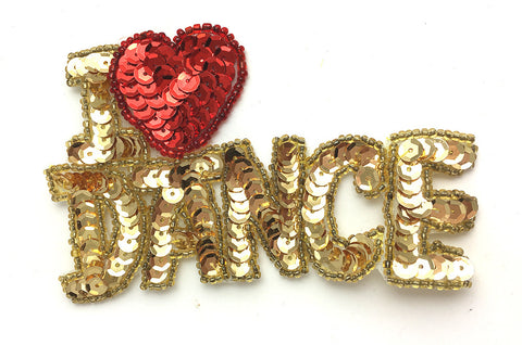 "Phrase I Love Dance Sequin Beaded  2.5"" x 4"""