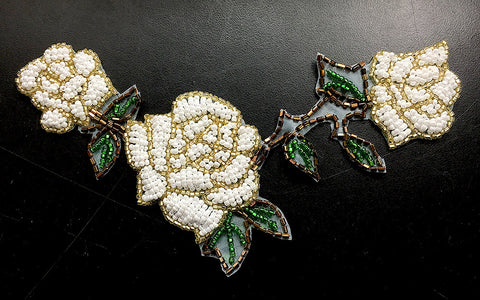 "Roses with Triple White Beads, Gold Bronze and Green Beads  6"" x 4.5"""