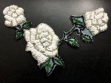 "Load image into Gallery viewer, Roses with Triple White Beads, Silver Black and Green Beads  6"" x 4.5"""