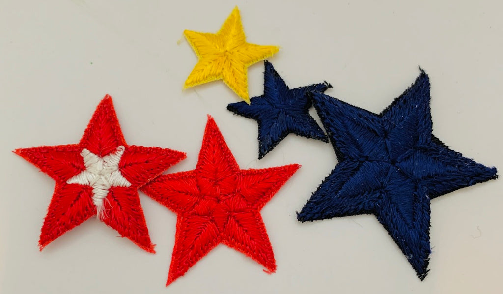 "Stars set of 5 Embroidered blue red yellow sixes 2"" 1.5"" 1"""