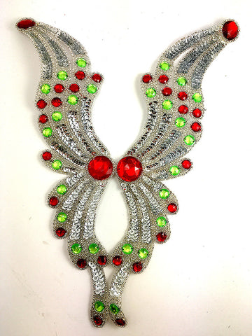 "Designer Motif Neckline with Silver Sequins, Beads and Red/Green Acrylic Stones 12"" x 10"""