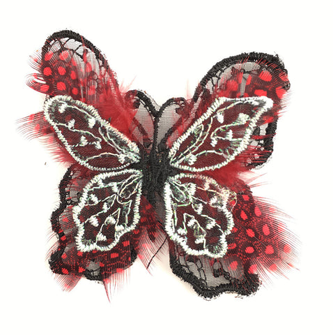 "Butterfly Embroidered Black and Red Feathers with Pin 2"" x 2.5"""