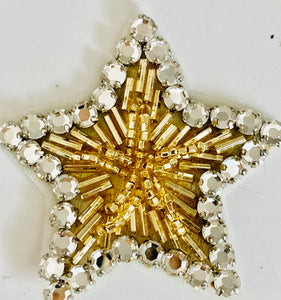Star With High Quality Rhinestone and Beads 2.5""