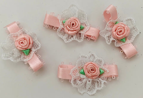 Flower set of 5 satin and lace 1""