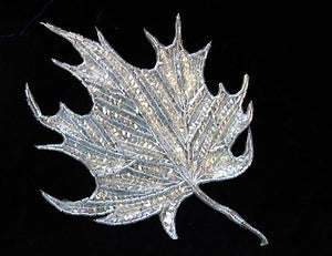 "Leaf with Crystal Iridescent Sequins and Beads 8"" x 6"""