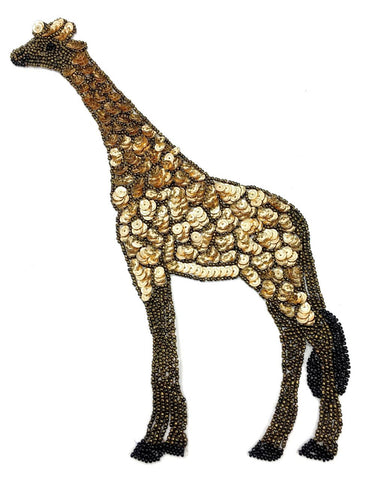 "Giraffe with Bronze and Gold Sequins and Beads 11"" x 4"""