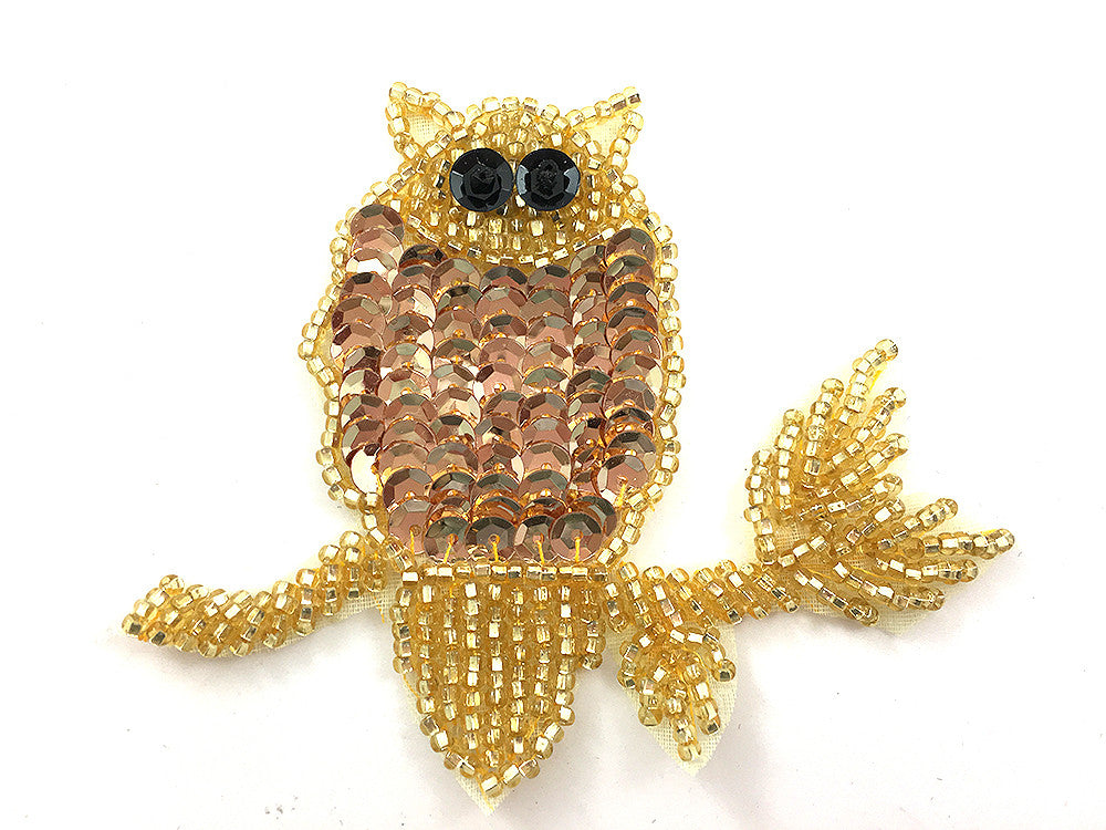 "Gold Owl on Gold Branch 2.5"" x 3"""