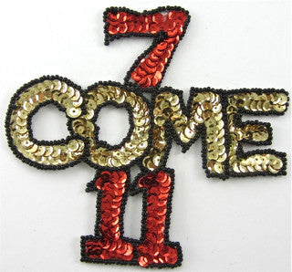 "7 Come 11, Las vegas word,Sequin Beaded  4.5"" x 4.5"""