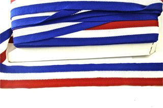 "Trim Three Rows with Red White and Blue Striped Cotton 2"" W"