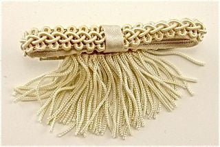 "Bow Satin Beige with Fringe  2.5"" x 1.5"""