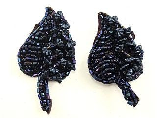 "Leaf Pair with Moonlite Beads 2.5"" X 1"""