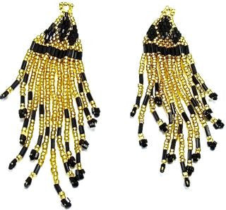 "Epaulet Pair with Gold and Black Beads 1"" x 3"""